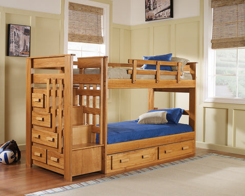 Chelsea Home Twin Over Twin Bunk bed with Stairway and Underbed Storage - Honey