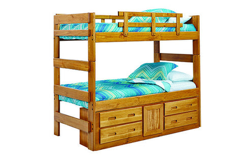 Chelsea Home Extra Tall Twin Over Twin Bunk Bed with Underbed Storage in Honey