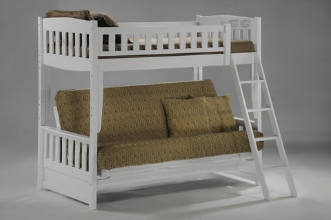 Night and Day Cinnamon Futon Bunk Bed in White Finish