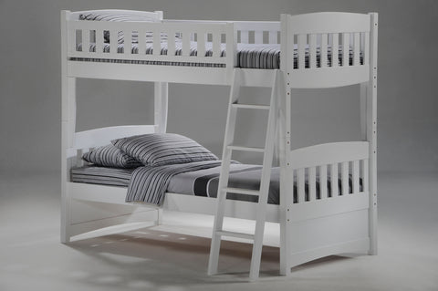 Night and Day Twin over Twin Cinnamon Bunk bed in white finish