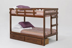 Chelsea Home Rustic Brown Twin Over Twin Bunk Bed with Storage