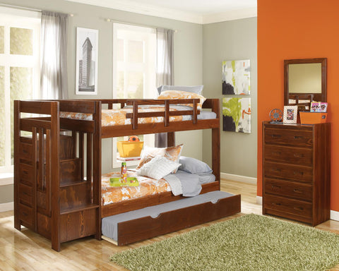 Chelsea Home Twin Over Twin Bunk Bed with Reversible Staircase and Trundle - Dark