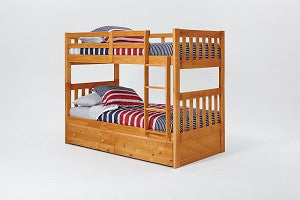 Chelsea Home Mission Twin Over Twin Bunk Bed with Under Bed Storage and Ladder