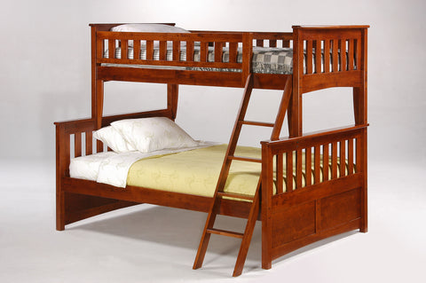 Night and Day Ginger Twin over Full Bunk Bed - Chocolate