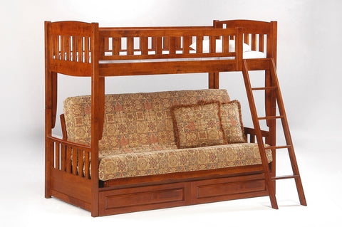 Night and Day Cinnamon Futon Bunk Bed in Cherry Finish