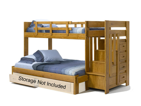 Chelsea Home Twin Over Full Bunk Bed with Stairway Chest-Honey