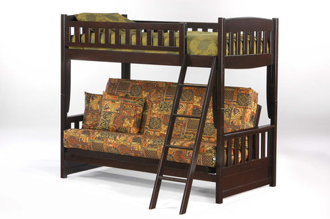 Night and Day Cinnamon Futon Bunk Bed in Chocolate Finish
