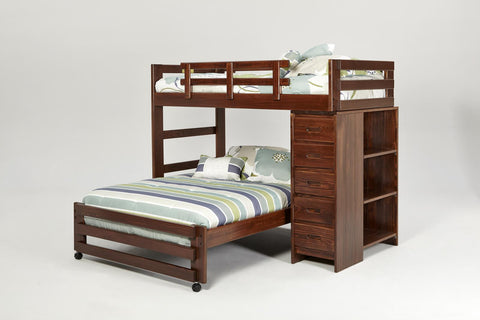 Chelsea Home Twin Over Full Loft Bed with 5 Drawer Chest and Bookshelf End-Dark