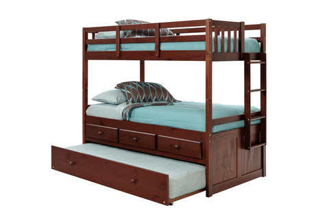 Chelsea Home Twin Over Twin Bunk Bed with Trundle and Storage Drawers - Dark