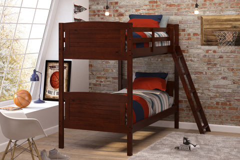 Chelsea Home Twin Over Twin Bunk Bed-Chocolate