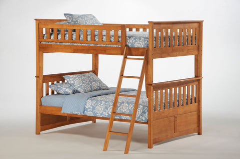 Night and Day Ginger Full over Full Bunk Bed in Medium Oak Finish