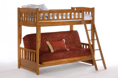 Night and Day Cinnamon Futon Bunk Bed in Medium Oak Finish
