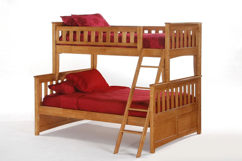 Night and Day Ginger Twin over Full bunk bed in Medium Oak Finish
