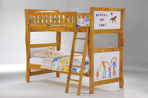 Night and Day Scribbles Twin over Twin Bunk Bed -Medium Oak Finish