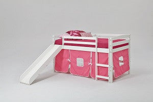 Chelsea Home Pink Tent Twin Loft Bed with Slide and Ladder-White