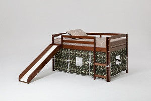 Chelsea Home Camo Loft Bed with Tent, Slide and Ladder-Chocolate