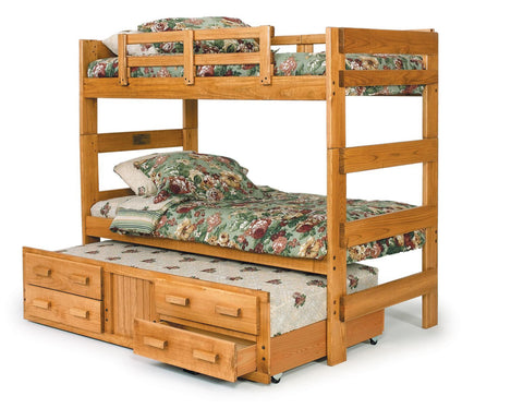 Chelsea Home Extra Tall Twin Over Twin Bunk Bed with Trundle- Honey