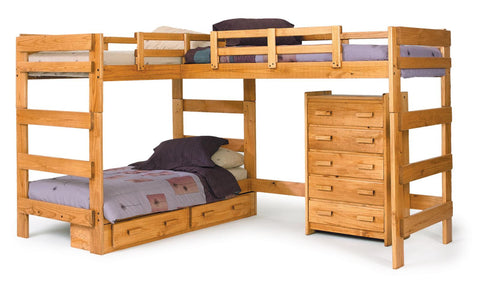 Chelsea Home L Shaped Loft Bed with Underbed Storage - Honey
