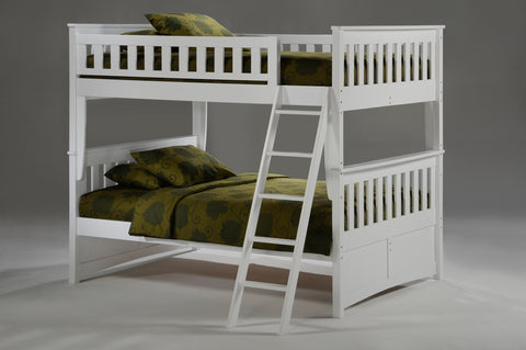 Night and Day Ginger Full over Full Bunk Bed in White Finish