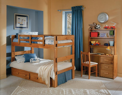 Chelsea Home Split Twin Over Twin Bunk Bed with Underbed Storage in Honey