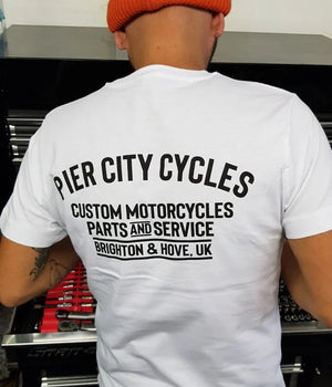 Pier City Cycles Original T Shirt - White/Black