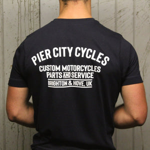 Pier City Cycles Original T Shirt - Navy/White - Pier City Custom BMW R9T