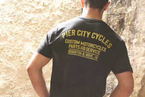 Pier City Cycles Original T Shirt - Black/Gold