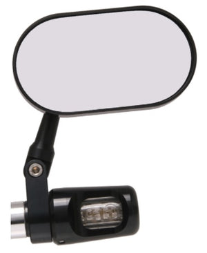 Oberon Performance BMW R9T Clamp Oval Bar End Mirror - Black