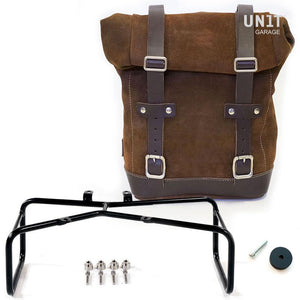 Unit Garage BMW R9T One Waxed Suede Pannier & Double Asymmetric Luggage Rack