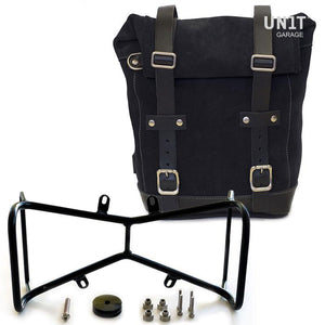Unit Garage BMW R9T One Waxed Suede Pannier & Double Symmetrical Luggage Rack