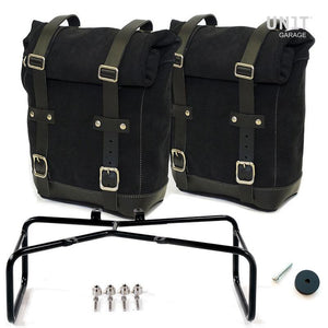Unit Garage BMW R9T Two Waxed Suede Panniers & Double Asymmetric Luggage Rack