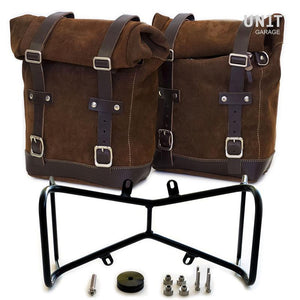 Unit Garage BMW R9T Two Waxed Suede Panniers & Double Symmetrical Luggage Rack
