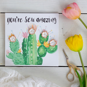 "Ceramic buttons greetings card (rust) ""You're sew amazing"""