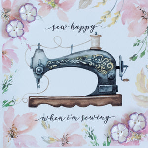 "Ceramic buttons greetings card (lilac) ""sew happy when I'm sewing"""