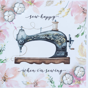 "Ceramic buttons greetings card (grey) ""sew happy when I'm sewing"""