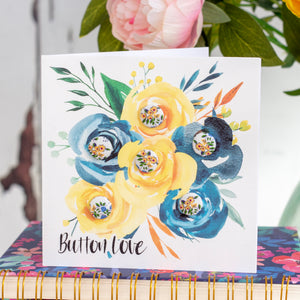 "Liberty of London buttons greetings card ""button love"" in blue and yellow"