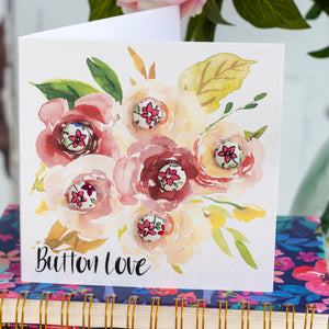 "Liberty of London buttons greetings card ""button love"" in pink"