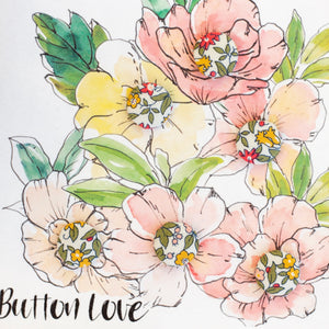 "Liberty of London buttons greetings card ""button love"" in yellow, red and green"