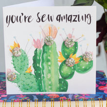 "Cactus buttons greetings card ""You're sew amazing"" with peach, pink and yellow"