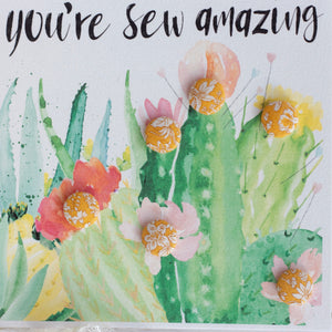 """You're sew amazing"" buttons cactus greetings card with yellow buttons"
