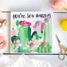 """You're sew amazing"" cactus buttons greetings card with lilac and peach buttons"