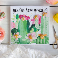 """You're sew amazing"" cactus buttons greetings card with yellow buttons"