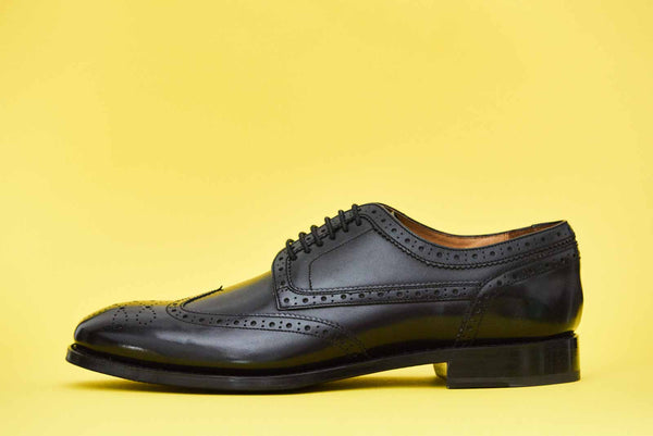 Langham - Black Brogue Wing Tip Shoes