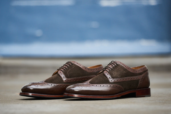 Langham - Brown Suede Brogue Wing Tip Shoes
