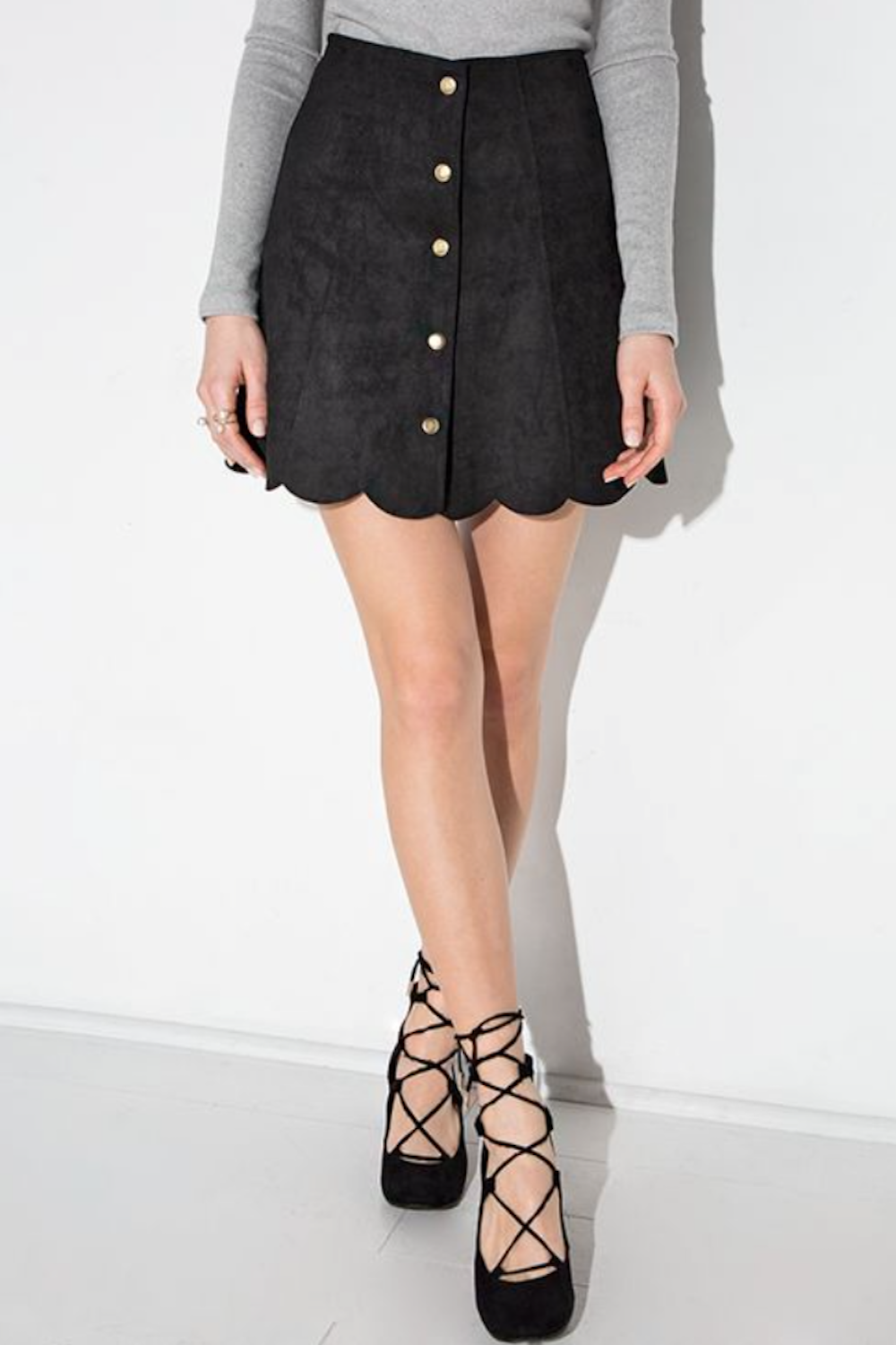 abacdb5b3 Black Suede Mini Skirt with Scalloped Hem Button Down Front Zip Back -  South of Society