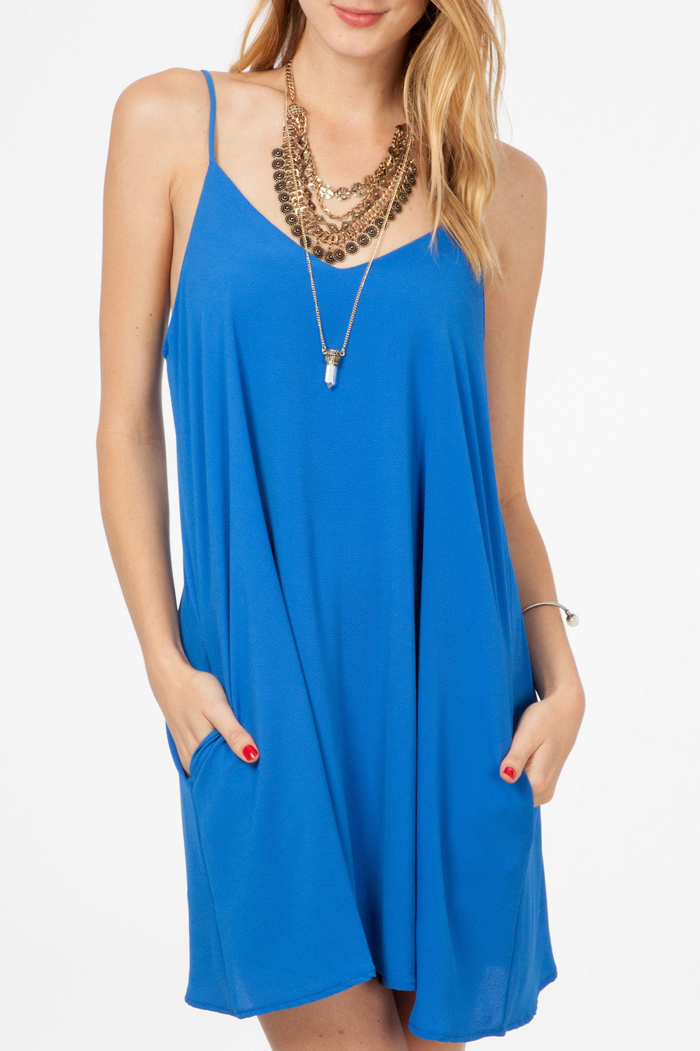 73c01ef3e782 Royal Blue Solid Swing Dress - South of Society