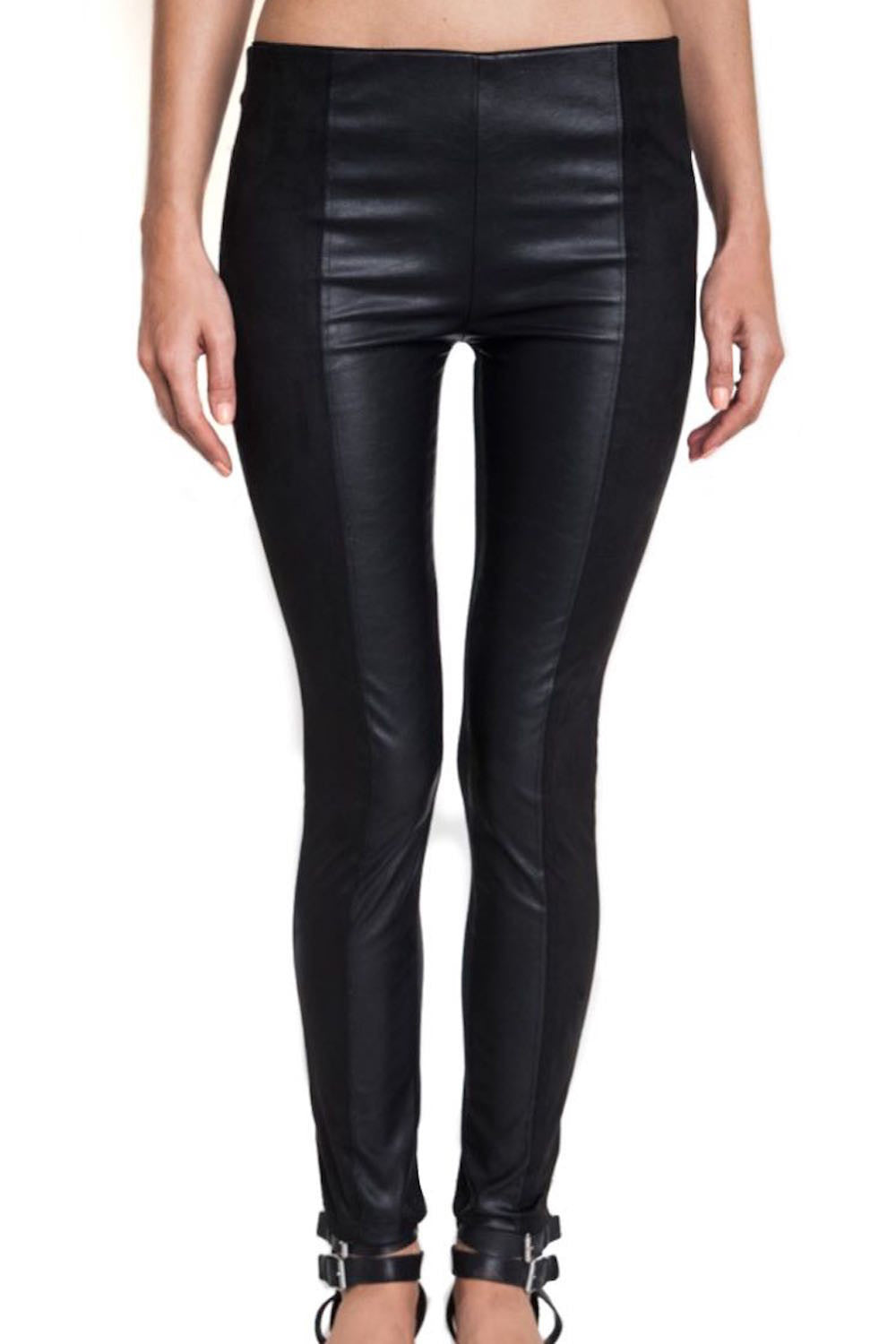 242796b8c090d Black Faux Leather and Suede Front Panel Leggings - South of Society