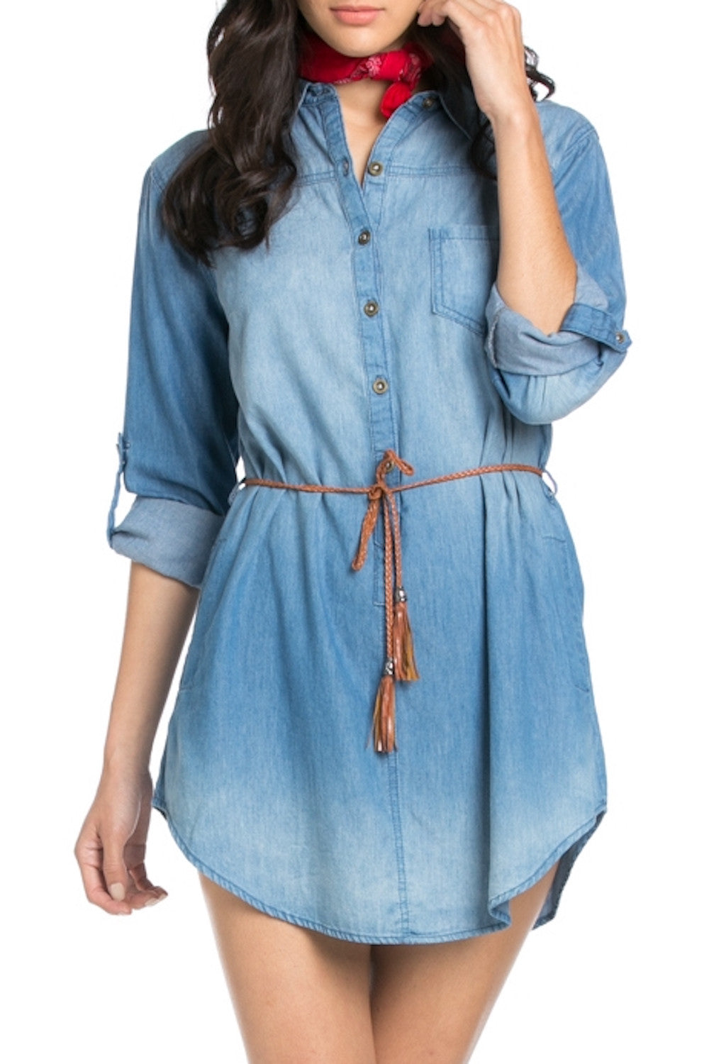 Long Sleeve Botton Down Light Washed Denim Tunic Dress South Of
