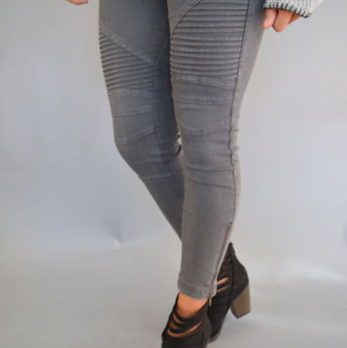 Dusty Pink Moto Jeggings with Ankle Zip