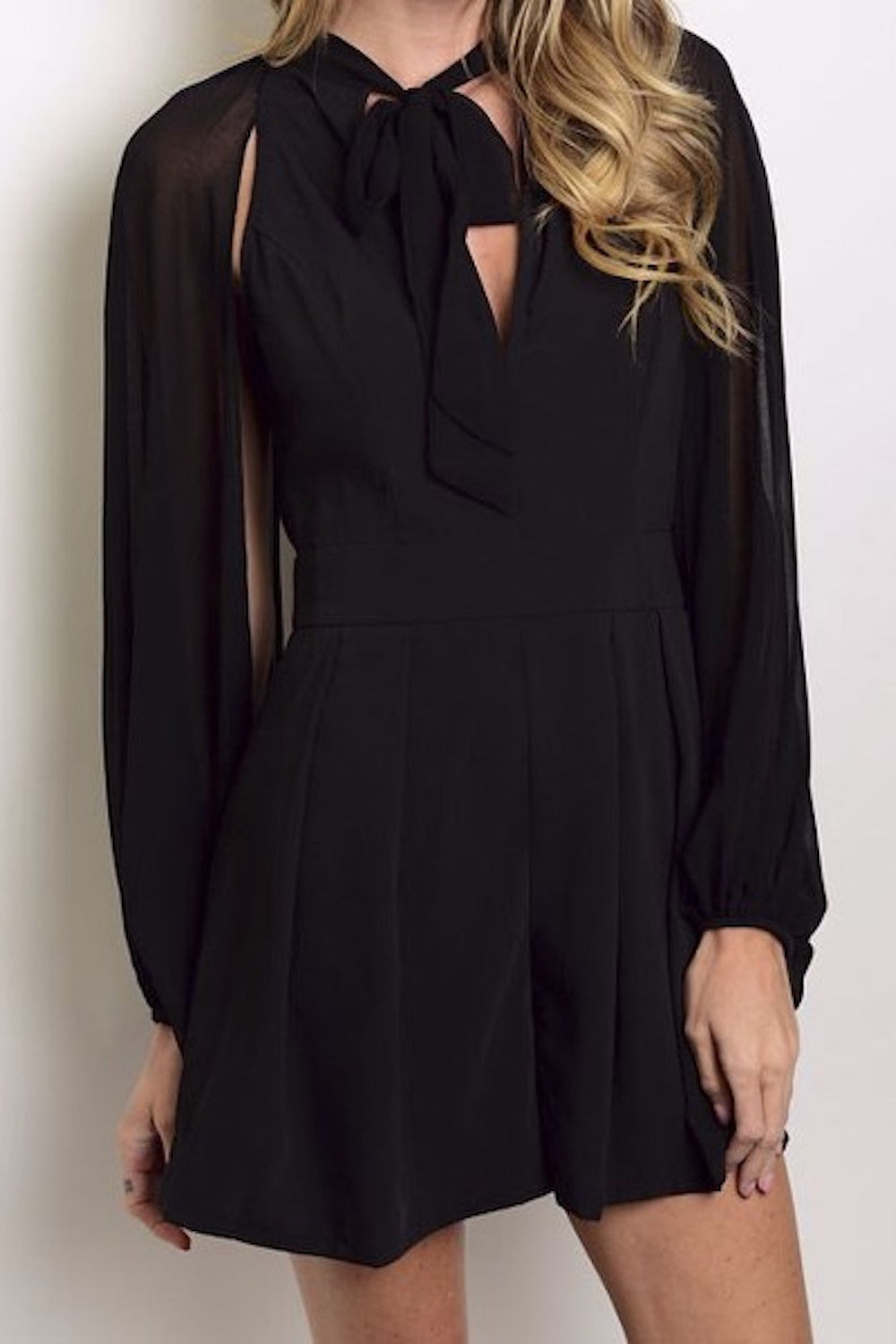 Sheer Chiffon Romper With Plunging Neckline Mixed Intimate Items